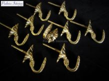 10 Solid Brass Tassel Hooks Builders Wall Egypt Cup DIY Hook 3cm Projection NEW
